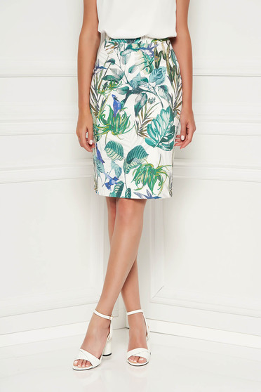 StarShinerS green office midi skirt slightly elastic fabric high waisted with straight cut