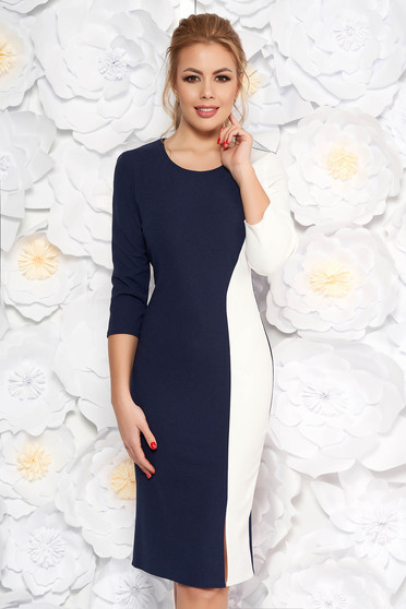 Darkblue daily pencil dress with tented cut 3/4 sleeve midi