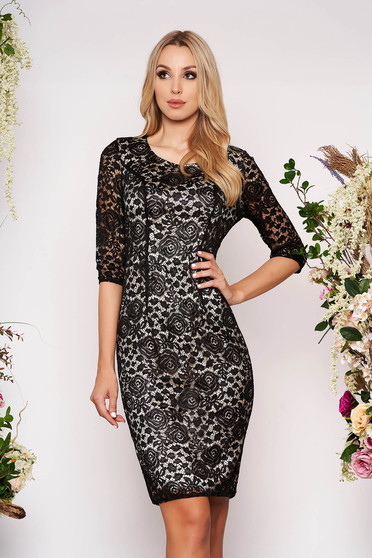 Occasional pencil dress 3/4 sleeve from laced fabric black with inside lining