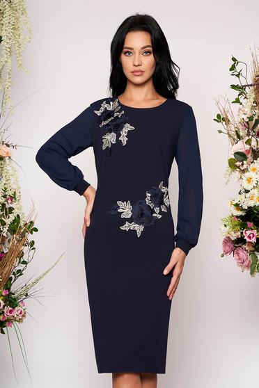 Darkblue elegant midi pencil dress with inside lining scuba and veil fabric