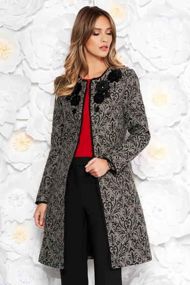 LaDonna grey elegant cloth coat arched cut front embroidery details