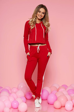 SunShine red casual set slightly elastic cotton with pockets with laced details