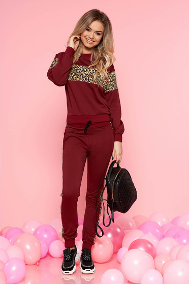 SunShine burgundy casual set with trousers slightly elastic cotton with pockets with elastic waist