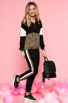 SunShine black casual set slightly elastic cotton with leo print with pockets