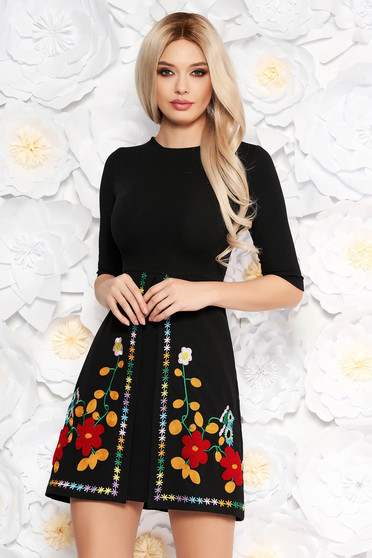 SunShine black daily a-line dress slightly elastic fabric with embroidery details