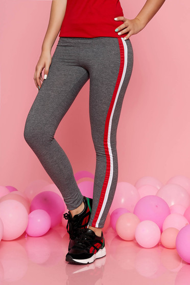 SunShine darkgrey sporty tights with medium waist with elastic waist slightly elastic cotton
