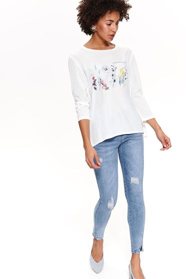 Top Secret white casual flared women`s blouse with 3/4 sleeves