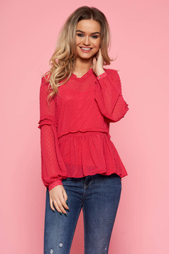 Top Secret darkpink casual flared women`s blouse transparent fabric with inside lining with v-neckline