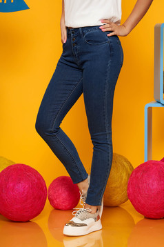 Top Secret darkblue casual skinny jeans jeans slightly elastic cotton with pockets with medium waist