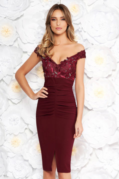 Artista burgundy occasional midi pencil dress off shoulder slightly elastic fabric with sequin embellished details