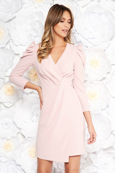 Artista rosa occasional dress from elastic fabric with inside lining with v-neckline