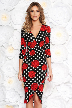 StarShinerS office red wrap around dress slightly elastic fabric with v-neckline with tented cut