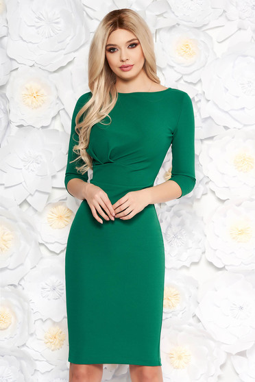 StarShinerS green office dress with tented cut slightly elastic fabric with 3/4 sleeves