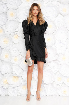 Ana Radu black luxurious dress with tented cut from satin fabric texture with v-neckline with ruffles at the buttom of the dress