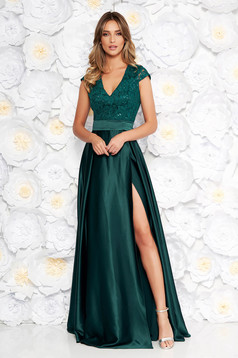Artista darkgreen occasional cloche dress with v-neckline with push-up cups from satin fabric texture from laced fabric
