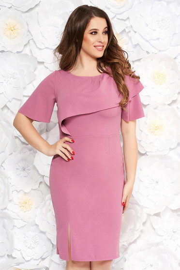 Purple daily pencil dress from elastic fabric with tented cut short sleeve