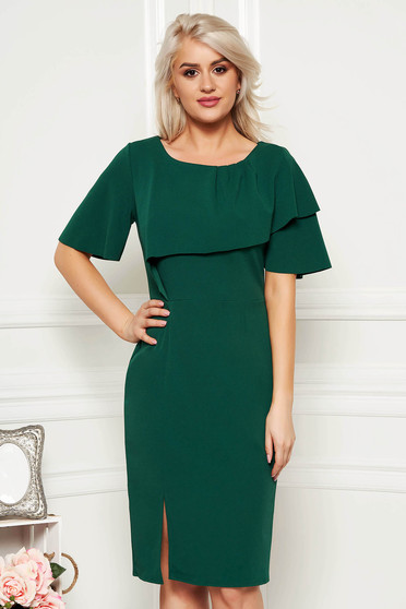 Darkgreen daily pencil dress from elastic fabric with tented cut short sleeve