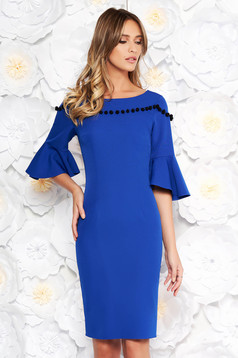 Blue elegant pencil dress soft fabric with bell sleeve with tassels