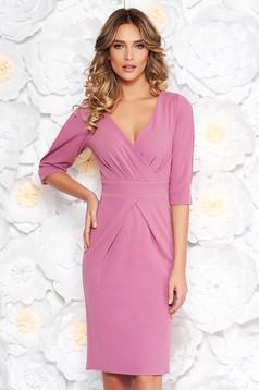 Purple elegant midi pencil dress with v-neckline with tented cut scuba