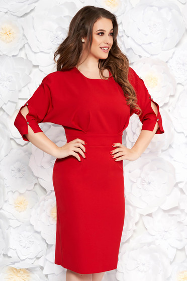 Red elegant pencil dress slightly elastic fabric with cut-out sleeves