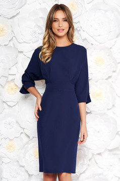 Darkblue elegant pencil dress slightly elastic fabric with cut-out sleeves