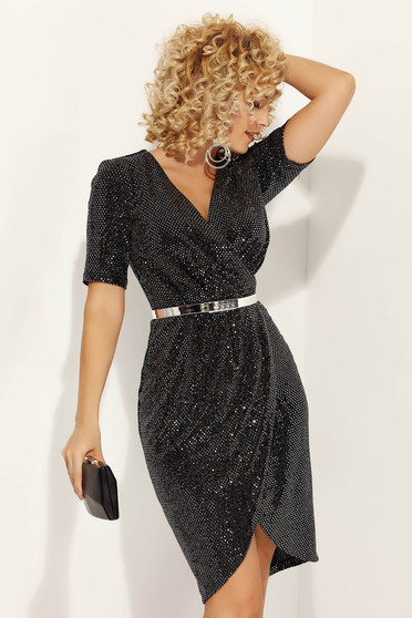 Black dress occasional midi pencil with v-neckline short sleeves with sequins