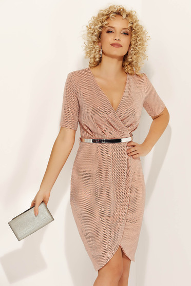 Lightpink dress occasional midi pencil with v-neckline short sleeves with sequins