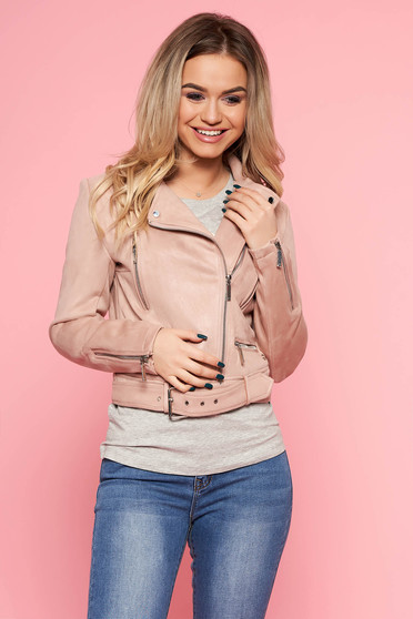 Top Secret rosa casual short cut jacket from velvet fabric accessorized with tied waistband