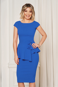 StarShinerS blue elegant pencil dress with tented cut with frilled waist