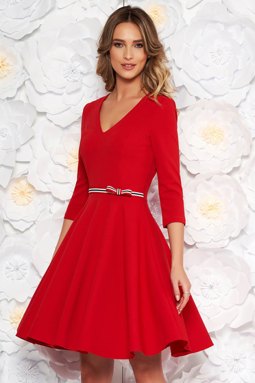 StarShinerS red dress daily cloche from elastic fabric with v-neckline with 3/4 sleeves