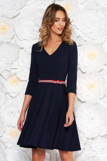 StarShinerS darkblue dress daily cloche from elastic fabric with v-neckline with 3/4 sleeves