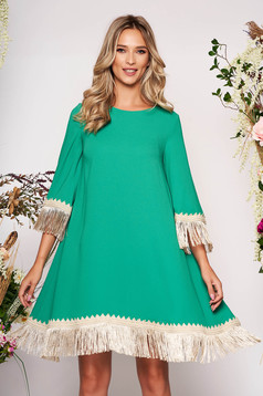 LaDonna green elegant flared dress from non elastic fabric with fringes 3/4 sleeve