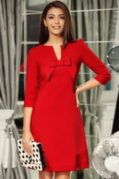 Fofy red elegant a-line dress from non elastic fabric with v-neckline bow accessory