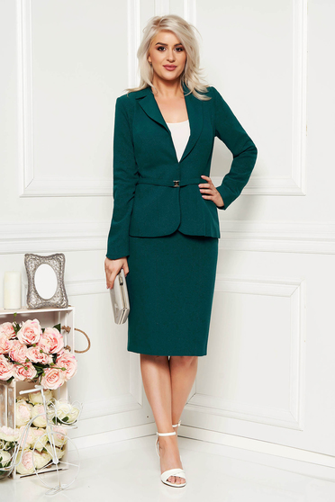 Darkgreen elegant lady set from 2 pieces with a skirt cloth arched cut