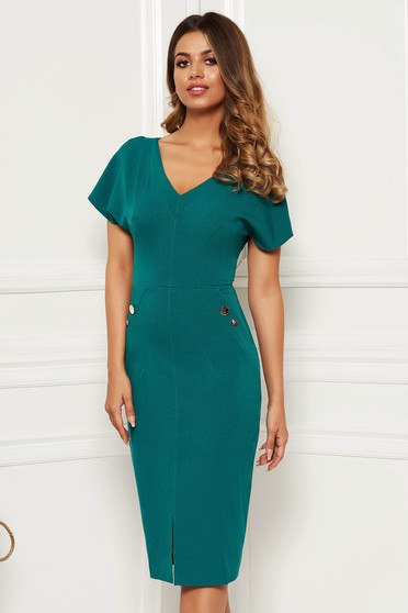 Green dress office midi pencil slightly elastic fabric with inside lining with button accessories