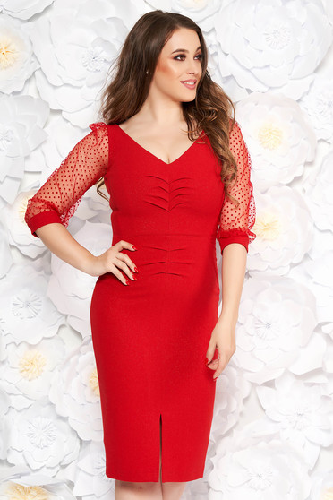 Red elegant pencil dress cloth with lame thread with v-neckline transparent sleeves