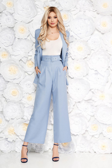 StarShinerS lightblue elegant lady set flared pants accessorized with belt with pockets