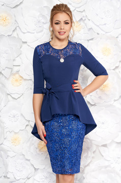 Blue occasional pencil dress from laced fabric with frilled waist accessorized with tied waistband