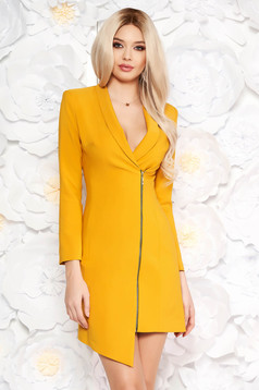 LaDonna mustard elegant blazer type dress from non elastic fabric with inside lining long sleeved