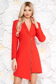 LaDonna red elegant blazer type dress from non elastic fabric with inside lining long sleeved