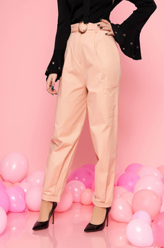 StarShinerS peach casual high waisted trousers slightly elastic cotton buckle accessory with pockets