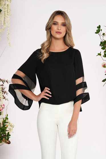 Black elegant flared women`s blouse airy fabric with bell sleeve