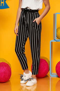 Top Secret black casual trousers thin fabric high waisted accessorized with tied waistband with stripes