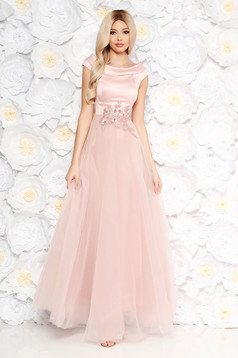 Artista rosa occasional dress from tulle from satin fabric texture with lace details with pearls with inside lining
