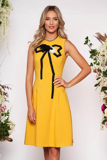 Artista mustard elegant cloche dress slightly elastic fabric handmade applications