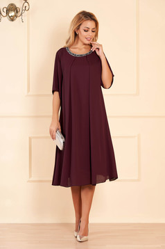 Purple occasional flared dress airy fabric with inside lining with bright details