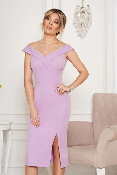 StarShinerS lila occasional dress with tented cut with v-neckline on the shoulders