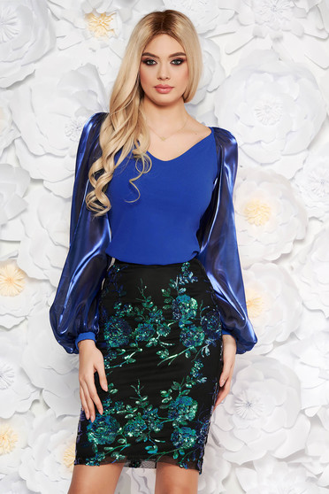 StarShinerS blue occasional women`s blouse with tented cut with v-neckline transparent sleeves