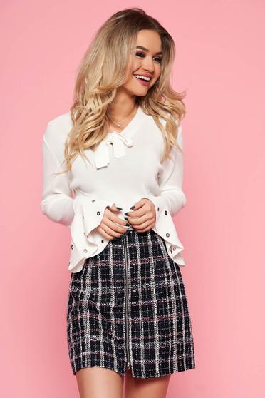 SunShine white women`s blouse casual flared slightly elastic fabric bell sleeves