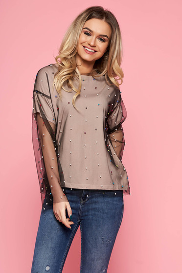 SunShine cream casual flared women`s blouse from tulle with inside lining with small beads embellished details